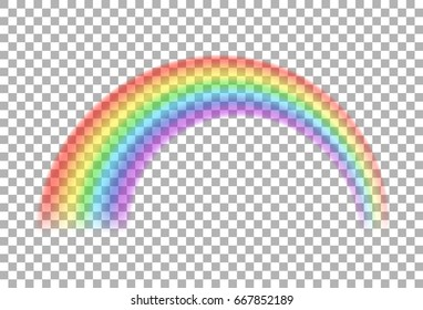 Rainbow icon. Transparent realistic colorful rainbow.  Colorful light and bright design element for decorative. Symbol of rain, sky. Rainbow isolated on transparent vector background.