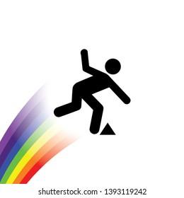 Rainbow with an icon - Trip Hazard