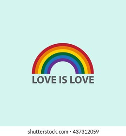 Rainbow icon with word love is love,LGBT support symbol