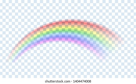 Rainbow isolated. Abstract vector image. Symbol of good luck and right path. Colorful weather element. Spectral gradient on the arc. Vector rainbow for overlaying on beautiful landscapes.