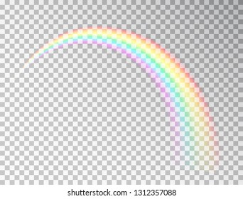 Rainbow isolated on transparent background. Realistic rainbow icon. Colorful light and bright design element for decoration. Symbol of love. Vector illustration.
