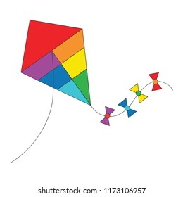 Rainbow Kite cartoon. Outlined illustration with thin line black stroke