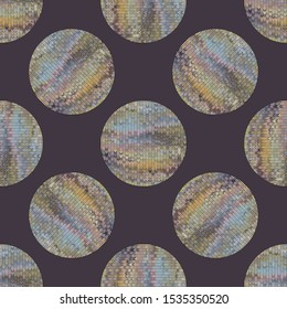 Rainbow Knitted Marle Variegated Circle Texture Background. Gray Blue Stitch Blended Heather Seamless Pattern. Polka Dot Dye Effect Textile Melange All Over Print. Retro 1970s Style Vector Eps 10