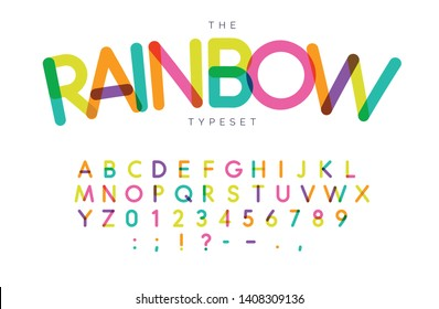 Rainbow letters and numbers set. Festival style vector latin alphabet. Font for events, birthday, kids promotions, festival logos, banner, monogram and poster. Typography design.