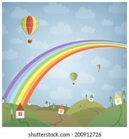 Rainbow and a little dream village, eps10