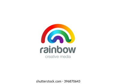 Rainbow Logo design vector template. Wifi signal friendly style Logotype concept icon.