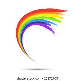 Rainbow logo template. Abstract  art design element. Colorful Paint brush stroke shape