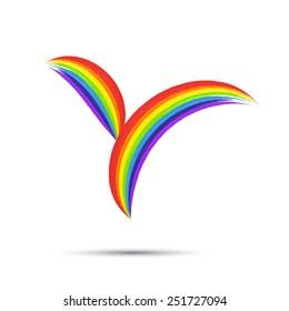 Rainbow  logo  template, t-shirt graphics.  Emblem symbol. Watercolor brush strokes. Vector illustration