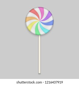 Rainbow Lolipop candy on white background. Vector Illustration.