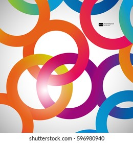 Rainbow loops, vector abstract background, design shape.