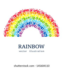 Rainbow made from hands. Abstract vector background