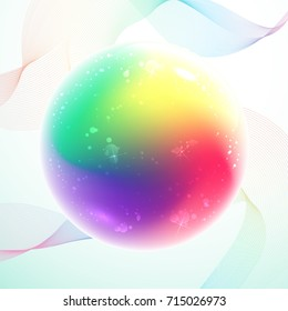 Rainbow magic ball with bubbles inside on abstract lines background