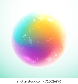 Rainbow magic ball with bubbles inside on light blue background
