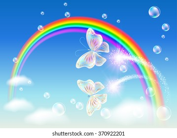 Rainbow and magic butterfly in the sky