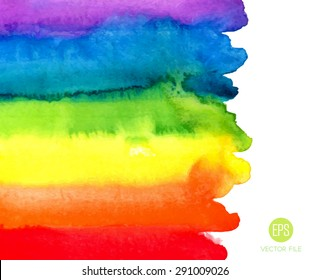Rainbow, magic wonderful fabulous watercolor. Abstract background vector. Colorful, red, orange, yellow, green, blue, indigo, violet, purple, white colors. Web and mobile interface, website template