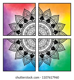 Rainbow mandala quadrants