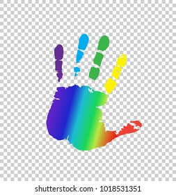 Rainbow multicolored silhouette of human handprint isolated on transparent background. Vector bright illustration of open palm, icon, logo, clip art.