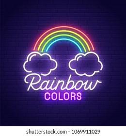 Rainbow neon sign, bright signboard, light banner. Colors logo, emblem. Vector illustration