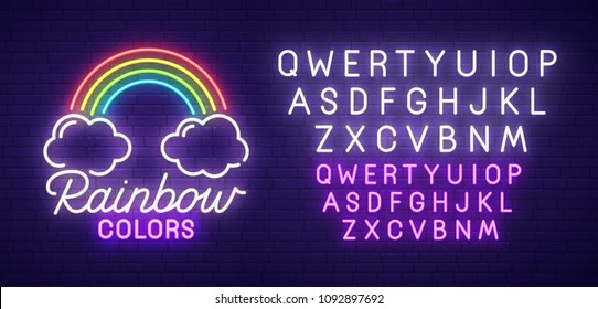Rainbow neon sign, bright signboard, light banner. Colors logo, emblem and label. Neon text edit