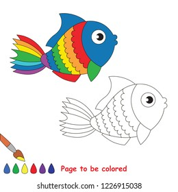 Rainbow Object Fish to be colored, the coloring book for preschool kids with easy educational gaming level.