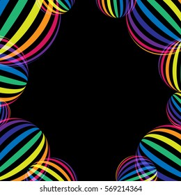 Rainbow on black. Rainbow abstract background. Rainbow border. Rainbow vector colors..