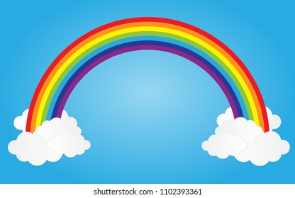rainbow on blue sky with clouds,vector illustration.