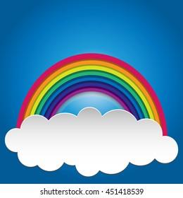 Rainbow on sky. Rainbow abstract background. Rainbow cloud. Rainbow vector colors.
