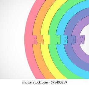 Rainbow on white abstract background.  Rainbow vector illustration. Rainbow circles. Rainbow arch.