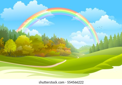 Rainbow over a beautiful forest in spring.