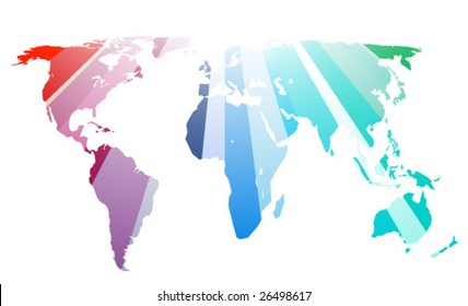 Rainbow pacific world map in vector