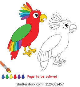 Rainbow Parrot Bird. Educational game for preschool kids with simple gaming level. Vector illustration to be colored.