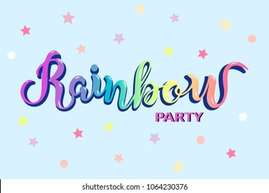 Rainbow Party text as logotype, badge, patch and icon isolated on blue background. Rainbow hand drawn lettering. Template for party, happy birthday card, invitation, flyers, baby birth.