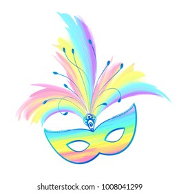 Rainbow pastel colors vector carnival mask with feathers