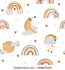 Rainbow pattern with moon and cloud in brown on a white background. Suitable for textiles, paper. Baby shower digital paper.