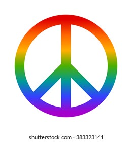 Rainbow peace sign flat vector icon for apps and websites