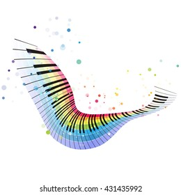 Rainbow piano, colorful music design on a white background, flying object