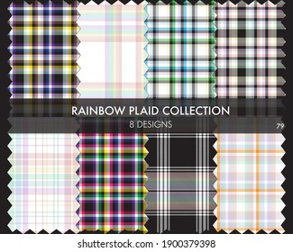 Rainbow Plaid seamless pattern collection includes 8 designs for fashion textiles and graphics