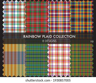 Rainbow Plaid tartan seamless pattern collection includes 8 designs suitable for fashion textiles and graphics