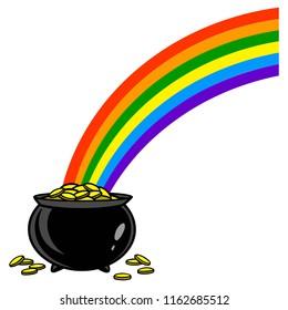 Rainbow with Pot of Gold - A vector cartoon illustration of a rainbow with a pot of gold.