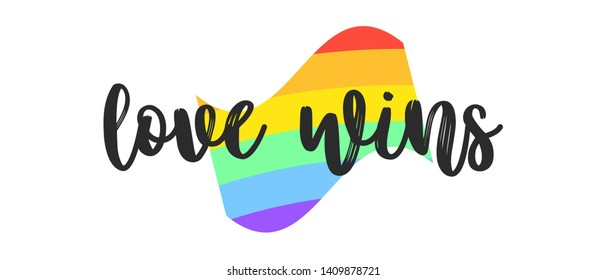 Rainbow pride flag include of Lesbian, gay, bisexual, and transgender flag of LGBT organization. Lgbt concept against homosexual discrimination. Set of vector lettering illustration