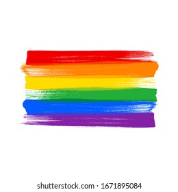 Rainbow pride LGBT flag - paint style vector illustration. Lesbian, Gay, Bisexual and Transgender rights.