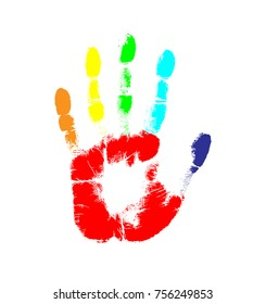 Rainbow print of hand of human, cute skin texture pattern,vector grunge illustration. Scanning the fingers, palm on white background. Fingerprint Rainbow gay and lesbian equality symbol LGBT.