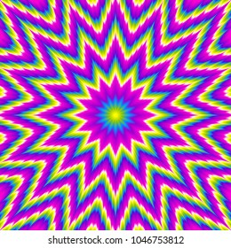 Rainbow psychedelic flower. Optical expansion illusion.