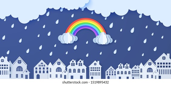 Rainbow rain and clouds over houses in the paper cut style. Vector clouds and rain in blue sky background and city buildings. Monsoon sale advertising promotion creative banner template.
