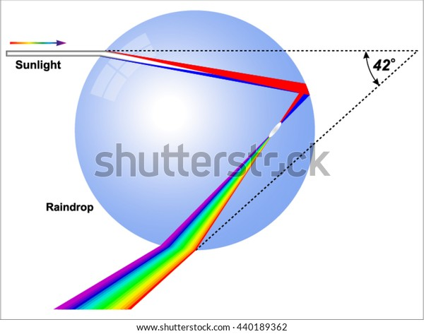 Rainbow -  raindrop refracts and reflects light.