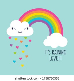 rainbow. its raining love. cloud. gorl graphic tees vector illustration design and other uses