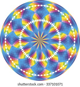 Rainbow rosette made of seven colors, each color placed on separate layer
