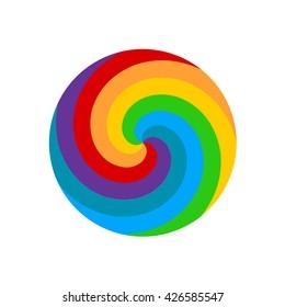Rainbow round spiral circle background. Lollipop rainbow.