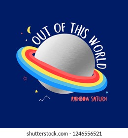 Rainbow saturn and space hand drawing illustration vector.