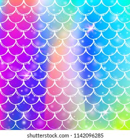 Rainbow scales background with kawaii mermaid princess pattern. Fish tail banner with magic sparkles and stars. Sea fantasy invitation for girlie party. Creative backdrop with rainbow scales.